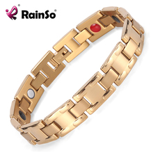 Hot Selling Mens Jewelry 4 Health Elements Stainless Steel Fashion Silver/Gold/Black Magnetic Wristband Bracelet OSB-1552G
