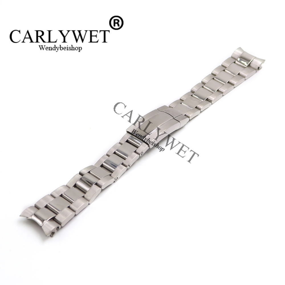 CARLYWET 20mm 316L Stainless Steel Silver Solid Curved End Screw Links Deployment Clasp Watch Wrist Band Strap Bracelet стоимость