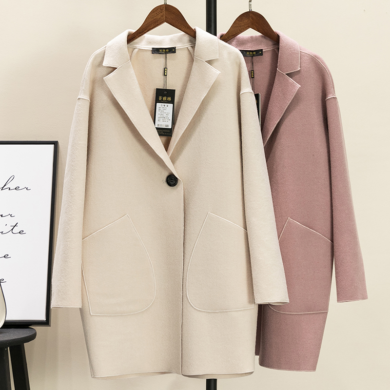 Nueva moda Otoño primavera capullo forma abrigo de lana las mujeres delgada botón abrigos prendas de abrigo chaqueta de lana Tops Mw425 - 2