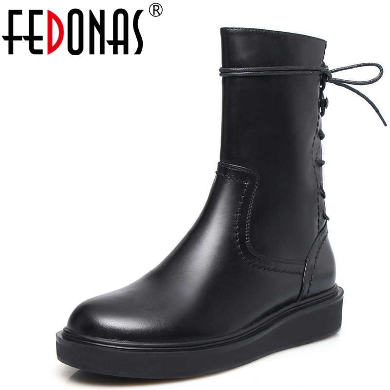 FEDONAS Sexy Black Mid-calf Boots Platforms Autumn Winter High Warm Shoes Woman Corss-tied Long Motorcycle Boots Female Shoes