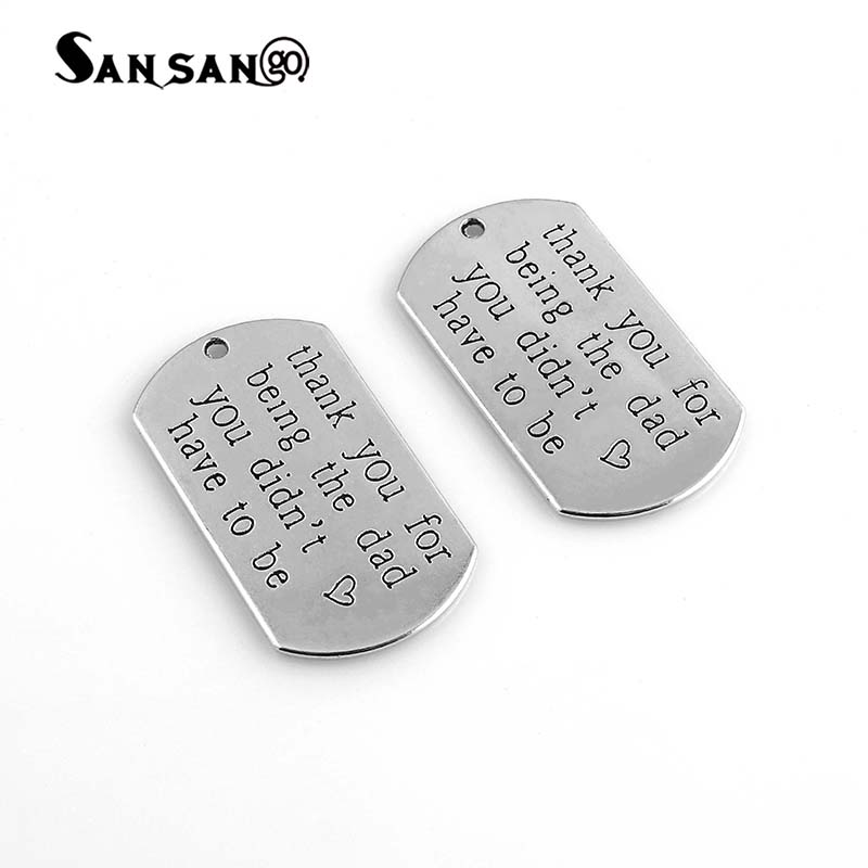 US $1 21 29% OFF|New Arrival Creative letter Thank You Dad Alloy Charms  Necklace Military Licensing Pendants For Men's Necklace Jewelry Gift-in  Charms