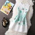 Verano de las mujeres sin mangas de cuello redondo wedding party dress floral print mini vestidos vintage oficina dress beach plus size tt2334