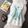 Womens Summer Round Neck Sleeveless Wedding Party Dress Floral Print Mini Vestidos Vintage Office Dress Beach Plus Size TT2334