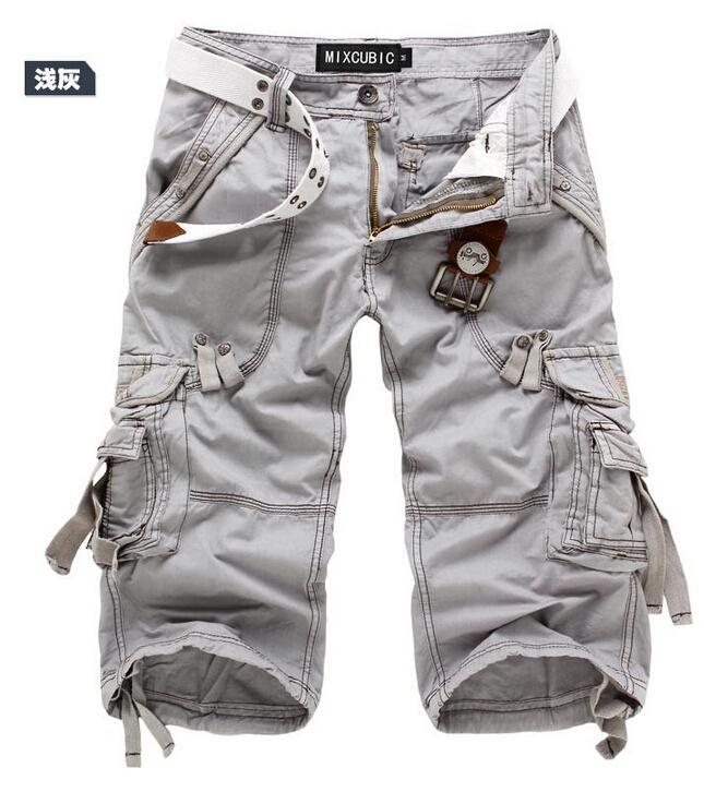 Для мужчин брюки-карго Шорты для женщин бермуды masculina De Marca Для мужчин Повседневное брюки-карго Шорты для женщин Военная Униформа камуфляж хлопок короткий - Цвет: Light gray