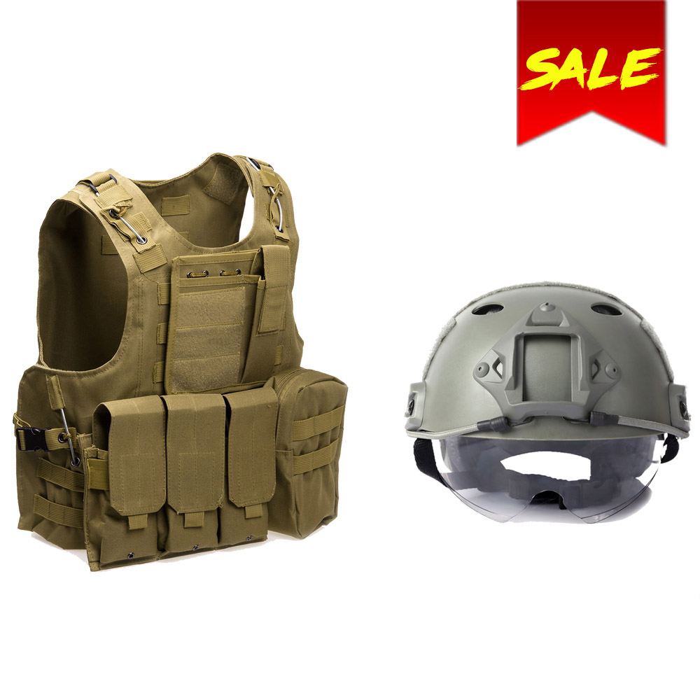 Military Tactical Vest Army Molle Hunting Vest Assault Plate Carrier CS Airsoft Paintball Game Safety Helmet Tactical Helmet lightweight hunting tactical helmet airsoft gear crashworthy head protector helmets for cs paintball game camping
