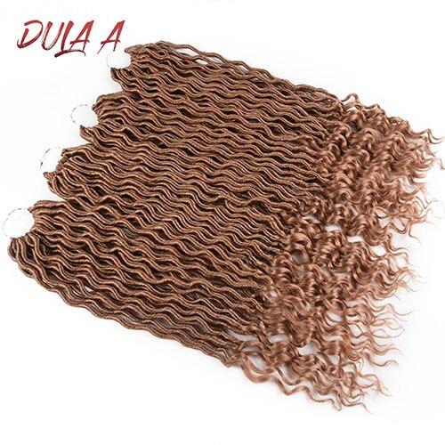 Dula волосы Омбре Faux locs Curly вязанные волосы для наращивания 20 дюймов Длинные Синтетические мягкие вязанные косички дреды волосы для наращивания - Цвет: #27