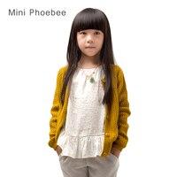 Bambini maglioni per bambini In Cotone inverno 2017 ragazze cappotto del maglione coreano Giallo rosa cardigan per i vestiti della ragazza bambino Maglia maglioni