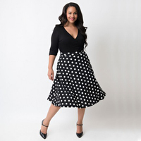 Europe And The United States Code V Collar Summer Dress Fat People Print Dot Women Clothing