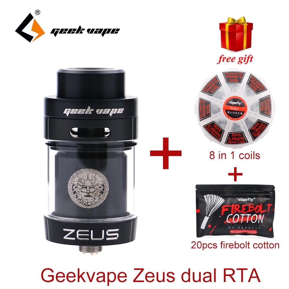 Original Geekvape Zeus dual RTA Zeus RTA Dual coil version 5.5ml RTA zeus atomizer leak proof top airflow system E Cigarette цены онлайн