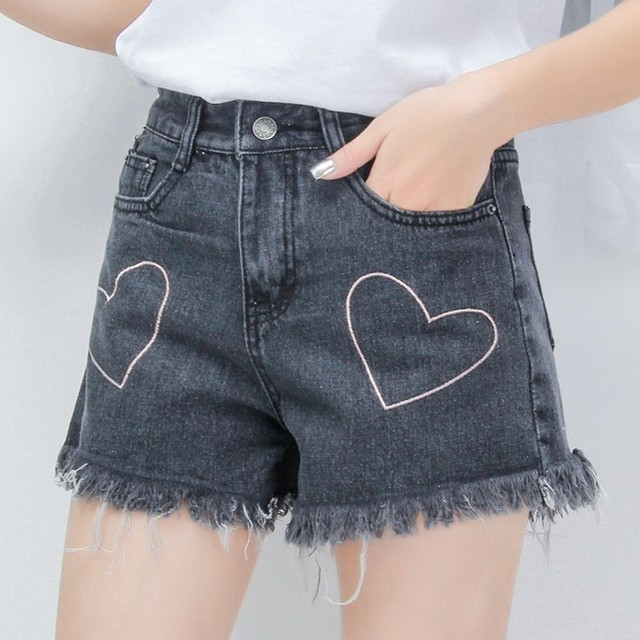 8cc521a46a1 EXOTAO Corazón Bordado Vaqueros Cortocircuitos Femeninos de Cintura Alta  Pantalones Cortos de Verano Pantalones Cortos de