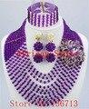 Púrpura precioso único africano perlas de la mujer joyería africanas de nigeria collar de cuentas estilo hechos a mano envío gratis SY102-3