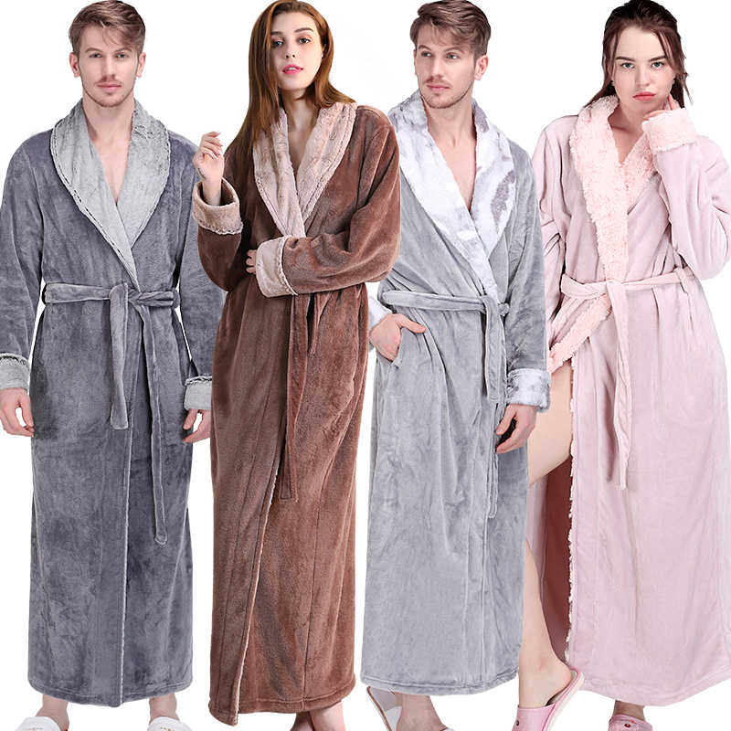 45fbb04a7f Women Men Winter Extra Long Warm Bathrobe Luxury Thick Flannel Fur Bath Robe  Soft Thermal Dressing