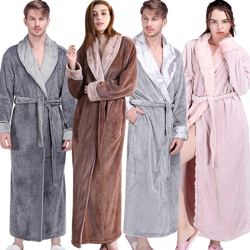 eb9dc3120 Women Men Winter Extra Long Warm Bathrobe Luxury Thick Flannel Fur Bath  Robe Soft Thermal Dressing