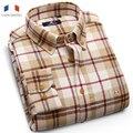 Langmeng  cotton men warm casual shirt long sleeve plaid male flannel shirt man's  velvet dress shirts  spring autumn