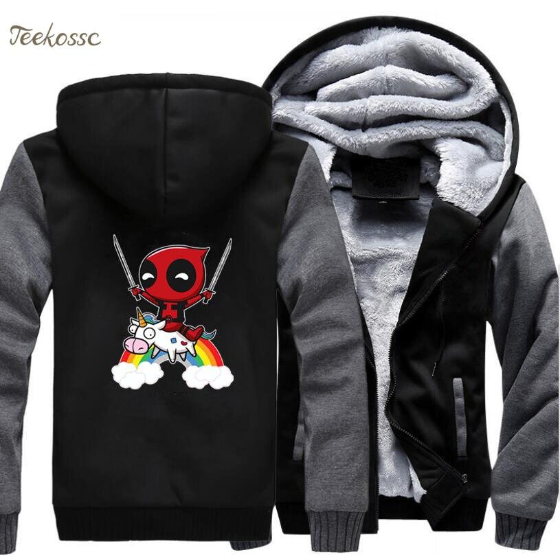 Deadpool Hoodie Men Super Hero Dead Pool Hooded Sweatshirt Coat Mens 2018 Winter Warm Thick Zipper Funny Jacket Top Quality 5XL