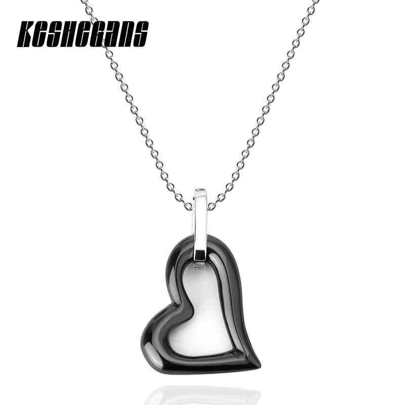 Черный, белый цвет Керамика сердце Форма кулон Цепочки и ожерелья 40 см Сталь цепи Модные украшения для Для женщин девочек Свадебная вечеринка ежедневного ношения