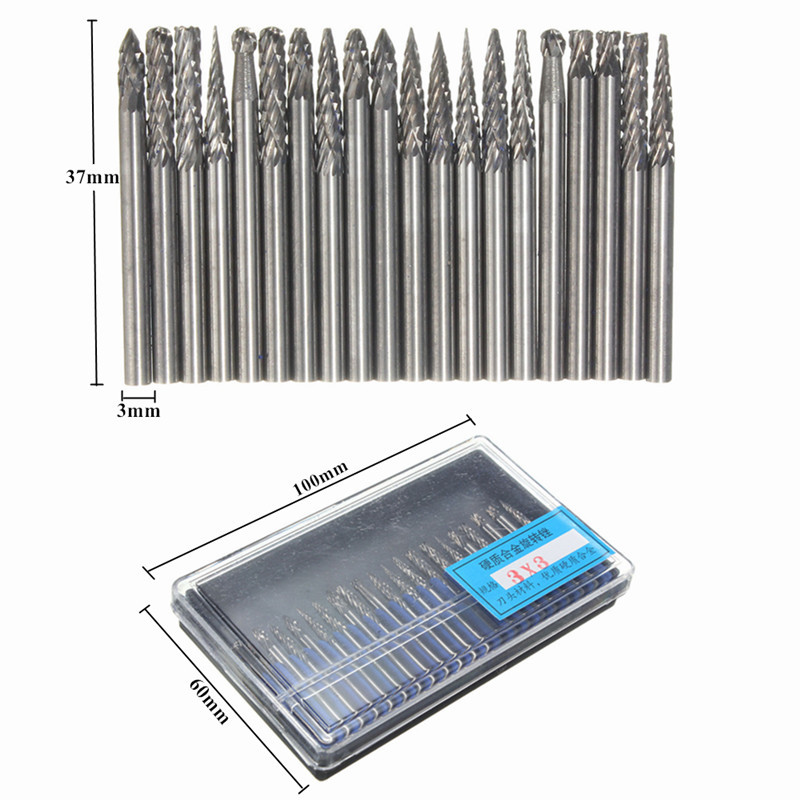 "New 20Pcs 1//8/"" 3mm Tungsten Carbide Cutter Rotary Burr Set CNC Engraving Bit Set"