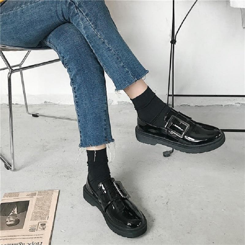 2018 angleterre Rétro Noir Automne Venteux Printemps Et Nouvelle Plat Chaussures Femmes De FqrwFSxU