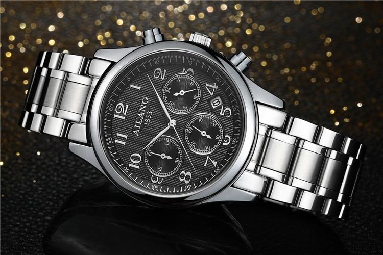 AILANG Classic Business Men Watches Full Steel Multi-functional Calendar Wristwatch Quartz Male Dress Watch Workable 3-eye A094