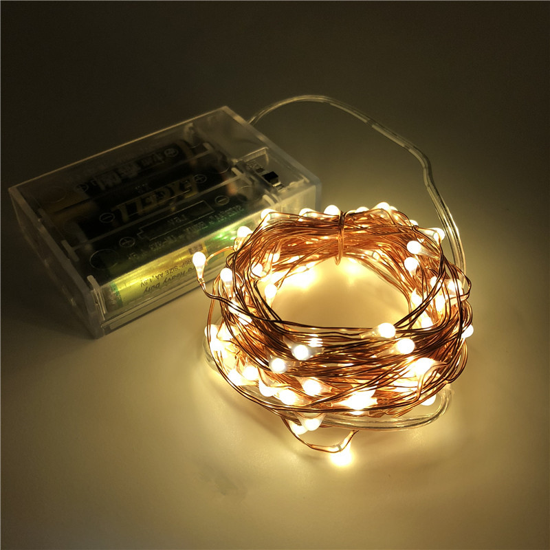 2M 5M 10M 100 Led Strings Copper Wire 3XAA Battery Operated Christmas Tree Wedding Party Decoration LED String Fairy Lights