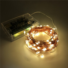 купить 2M 5M 10M 100 Led Strings Copper Wire 3XAA Battery Operated Christmas Tree Wedding Party Decoration LED String Fairy Lights дешево