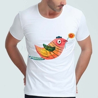 193603G Bird Flower Mens T Shirts O Neck White Cotton Spandex Summer Cool Fashion Casual High