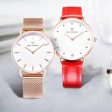 Adam Gallagher Watch Women Quartz Simple Business Trends Waterproof Watch Leather Strap And Mesh Watch