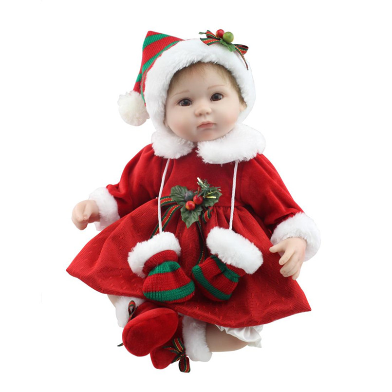 Silicone Reborn Baby Dolls for Girls Toys Lifelike Newborn Baby Bonecas with Red Clothes,15 Inch Realistic Reborn Babies Doll 20 inch silicone reborn dolls sleeping baby bonecas with clothes real looking newborn baby doll toys for girls children