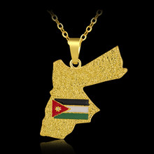 Ethnic Jordan Map&Flag pendant necklace for Men/Women Gold color Jordanian Maps Jewelry Patriotic Gift(China)