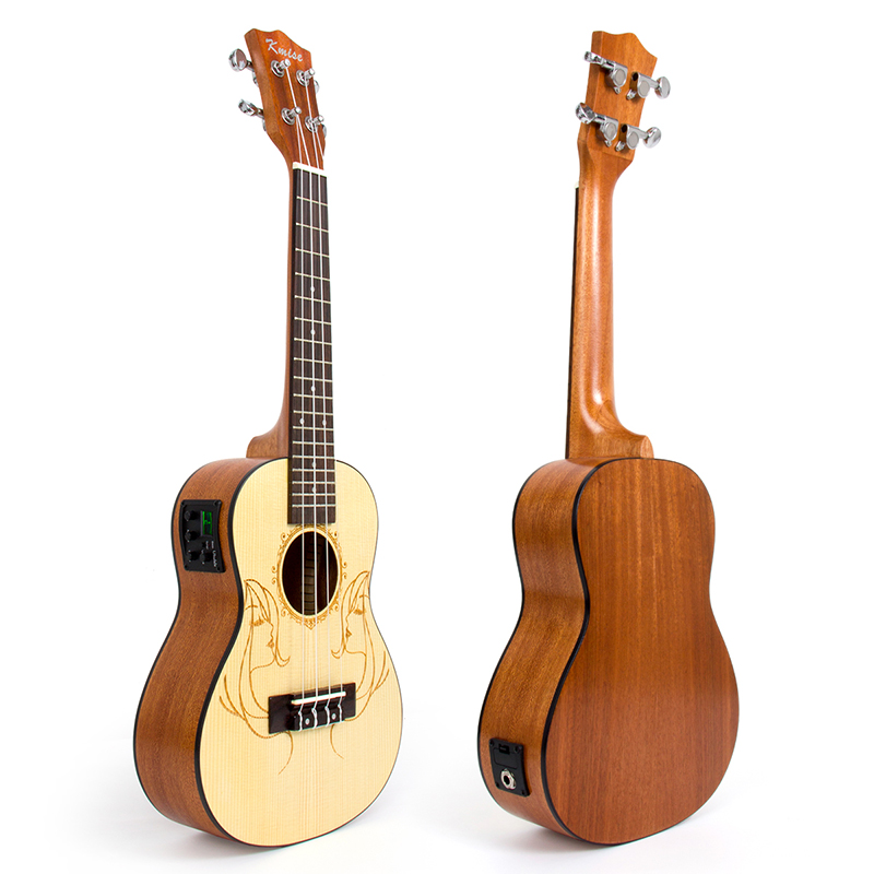 Kmise Concert Ukulele Electric Acoustic Solid Spruce Ukelele Uke 23 inch 18 Frets 4 String Hawaii Guitar concert acoustic electric ukulele 23 inch high quality guitar 4 strings ukelele guitarra handcraft wood zebra plug in uke tuner