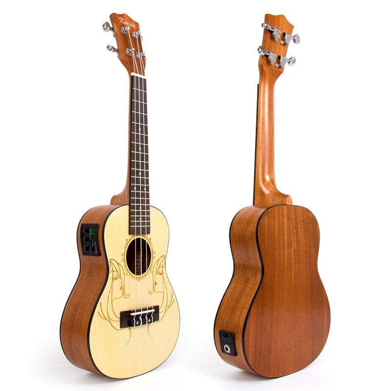Kmise Concert Ukulele Electric Acoustic Solid Spruce Ukelele Uke 23 inch 18 Frets 4 String Hawaii Guitar
