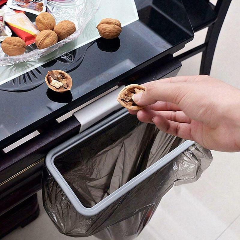 1pc Portable Hangable Kitchen Garbage Rack Cabinet Door Hanging Garbage Rack Storage Garbage Bags Trash Holder Hanging Storage