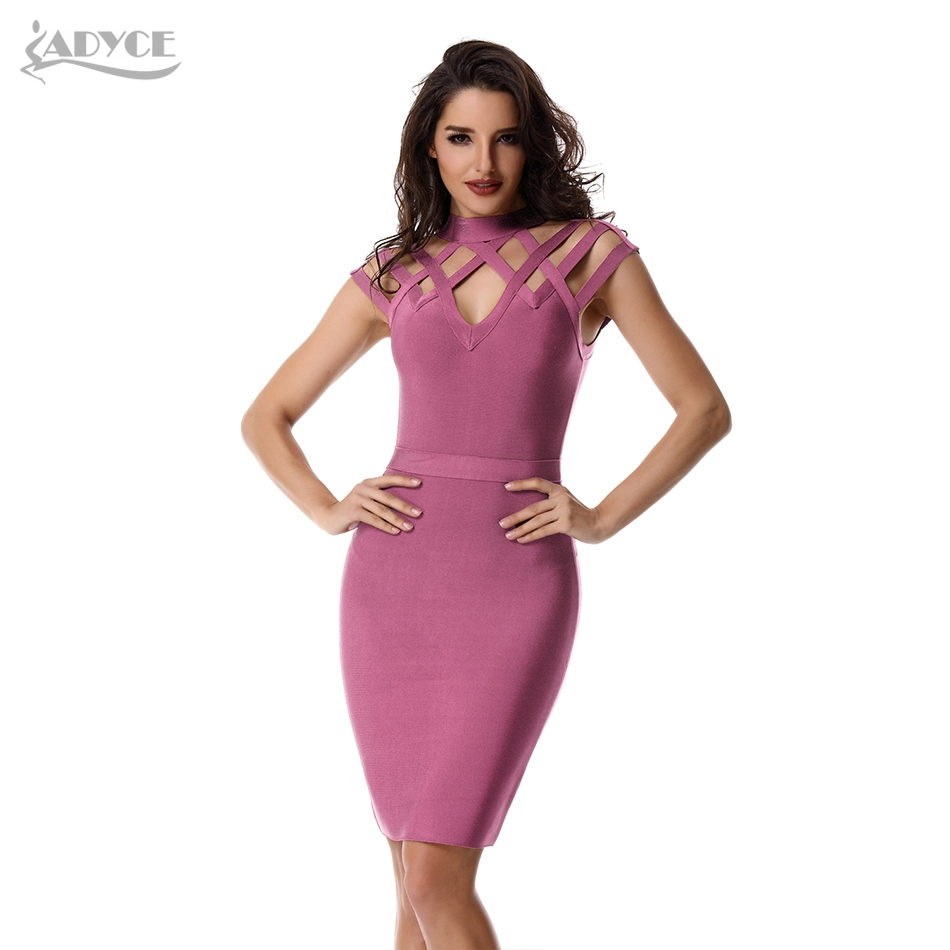 ADYCE 2019 Nuevo Verano Vestido de Vendaje Sexy Hollow Out Wine Rojo Rosa Negro Vestido de Club Vestidos Celebrity Evening Party