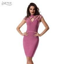 3f71d4099 ADYCE 2019 nuevo verano las mujeres vestido vendaje Sexy vino rojo rosa  negro vestido Vestidos de Noche de celebridad parte vest.