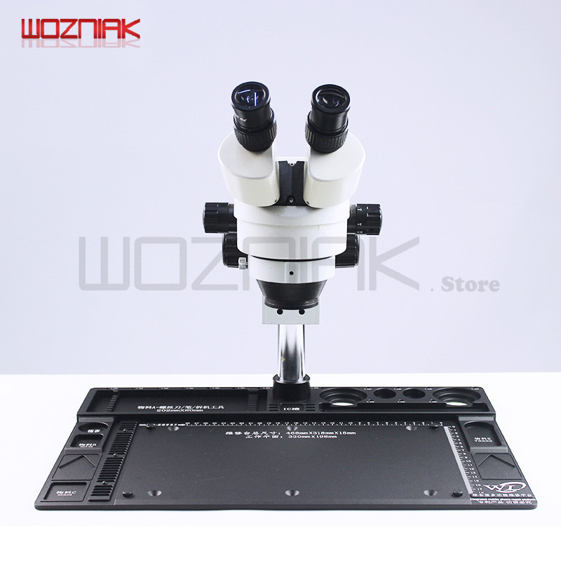 Wozniak WL Cellphone Repairs Microscope Binocular Stereopsis 7-45x 14-90x BGA Mainboard Maintenance Table + Aluminum Alloy Pad