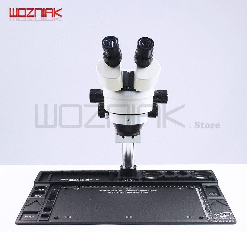 Wozniak WL Cellphone Repairs Microscope Binocular Stereopsis 7-45x 14-90x BGA Mainboard Maintenance Table + Aluminum Alloy Pad