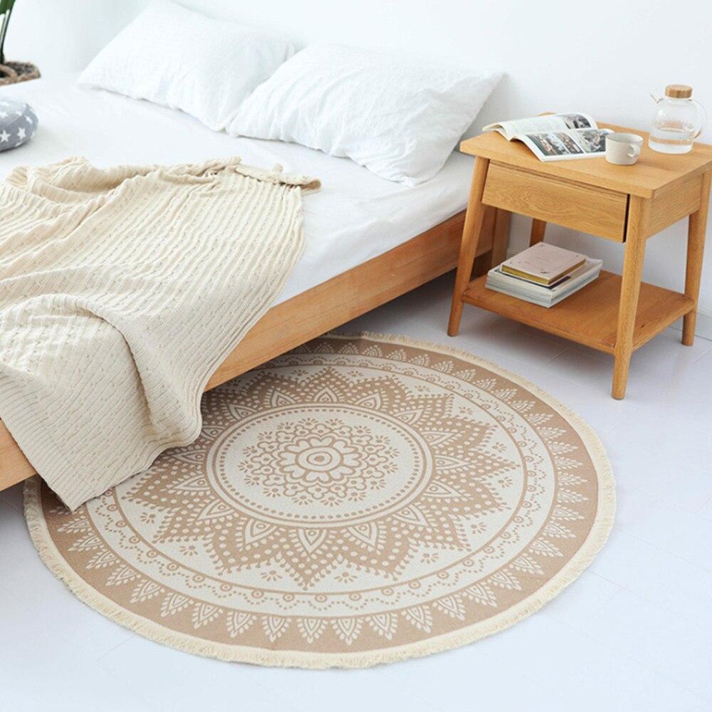Ronde coton tricoté tapis de ménage, salon de chevet tapis et Nordique minimaliste tapis de sol.