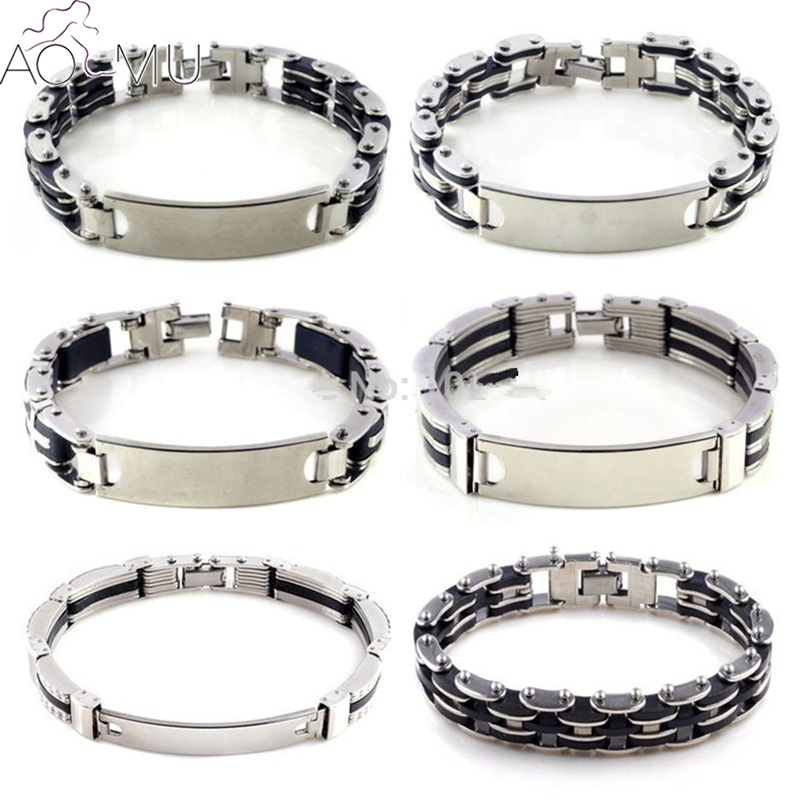 AOMU fashion mens rubber Stainless Steel chain Bracelets & Bangles jewelry Cuff wristband High Quality Rock Man Pulseiras