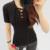 95% Algodón de la Marca Mujeres de la Camiseta 2017 de Moda de Verano Negro Camiseta mujer de Manga Corta Camiseta Delgada de Gran Tamaño Tops Camiseta Femme