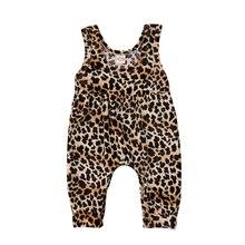 Новая повседневная одежда для новорожденных девочек Леопардовый жилет с принтом Комбинезон-шаровары Летняя одежда