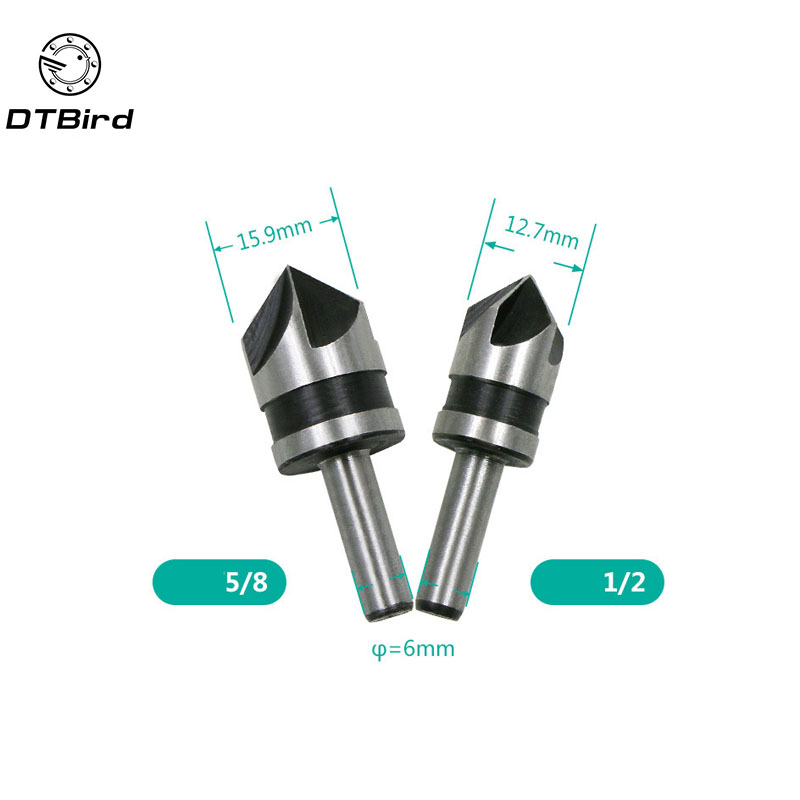 2pcs HSS 5 Flute Countersink Drill Bit 82 Degree Point Angle Chamfer Chamfering Countersinking Cutter 1/4