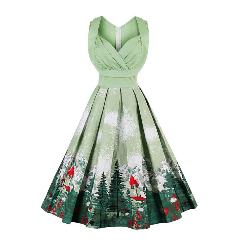 2017 Women Retro Dresses Floral Print 1950s Style Cute