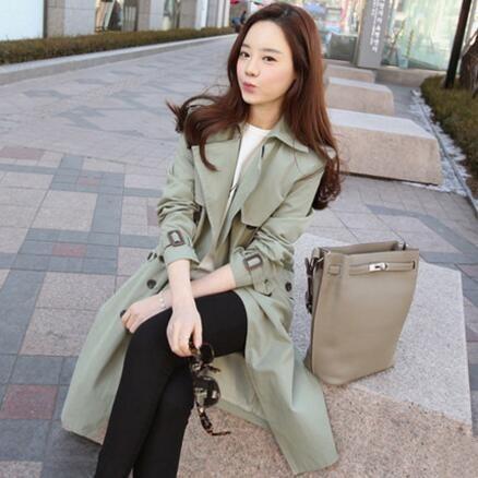 Тренч для Для женщин Мода 2017 г. тонкий двубортный весна/осень пальто Для женщин пальто с карманом