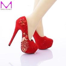 Red Bridal Dress Shoes Suede Leather Rhinestone Phoenix Bridesmaid Shoes Alti-slip Formal Wedding Shoes Fashion Women Pumps