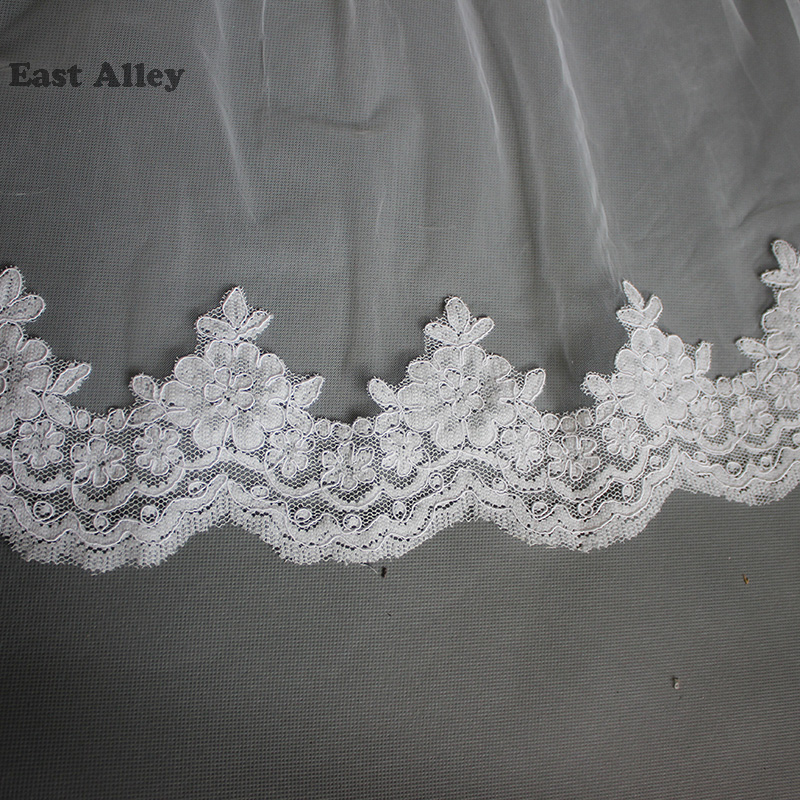 White Wedding Accessories Lace 5M/500cm Cathedral Length White Bride Veil Lace Mantilla
