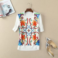 2018 Spring Summer Front Silk Printed Short Sleeve Knit Blouse180124z03
