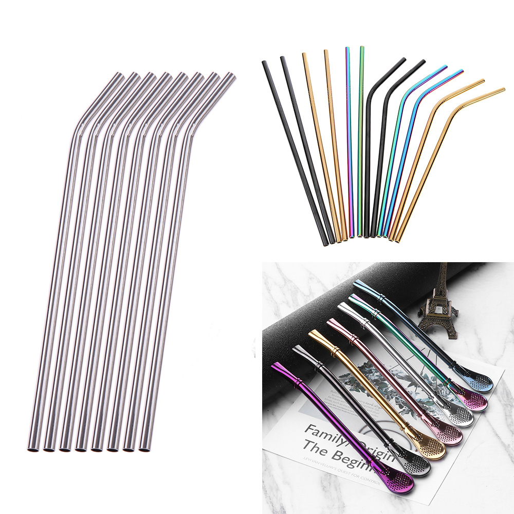 Home Party Bar Drinking Straws Stainless Steel Metal Drinking Straw Reusable Straws With Cleaner Brush Tea Bar Accessories unicorn party rainbow straw 24pcs paper straws unicorn birthday party festive supplies decoration paper drinking straws holiday