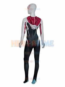 新しい3d印刷スパイダーグウェンステイシー衣装スパンデックスライクラスパイダーマン衣装ハロウィンやコスプレパーティー女性スパイダー全身タイツスーツ