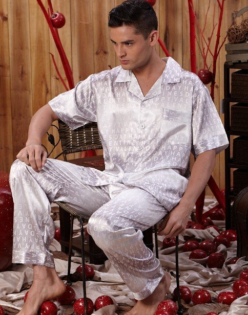 Silk Men's Pajamas set , Men's Sleepwear Set, Short Sleeve Top & Pant Set