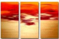 هاندبينتيد 3 قطعة الأحمر الحديثة المشهد النفط اللوحة الزخرفية على قماش جدار الفن شروق غرفة المعيشة
